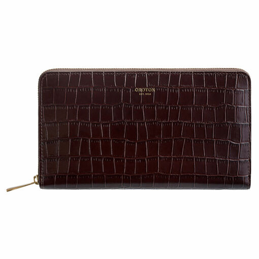 Oroton Muse Texture Zip Book Wallet in Walnut Texture and Croc Effect Leather for female