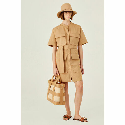 Oroton Short Sleeve Cotton Drill Utility Dress in Camel and 100% Cotton for female