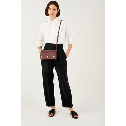 Oroton Bay Crossbody in Mahogany and Smooth Leather for female