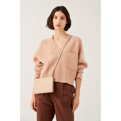 Oroton Duo Double Zip Crossbody in Latte and Pebble Leather for female