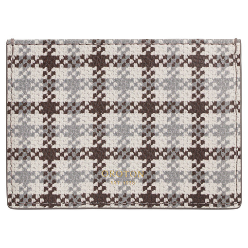 Oroton Muse Print 3 Credit Card Sleeve in Chocolate Check and Saffiano Leather for female