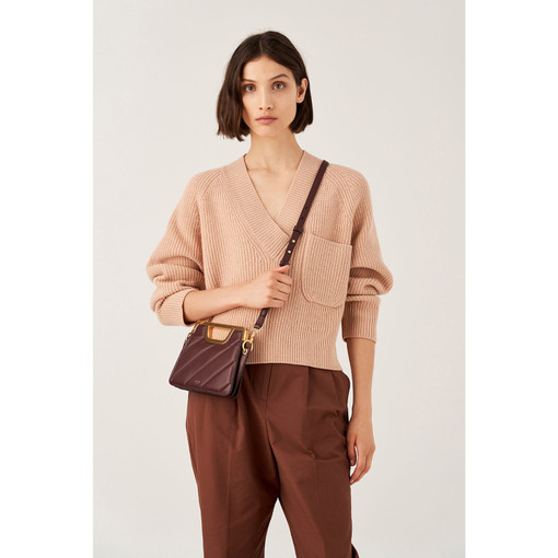 Oroton Coco Quilting Small Clutch in Mahogany and Nappa Leather for female