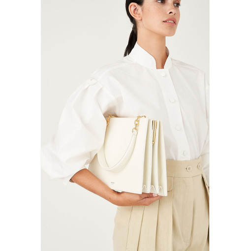 Oroton Hazel Frame Shoulder Bag in Cream and Smooth Leather for female