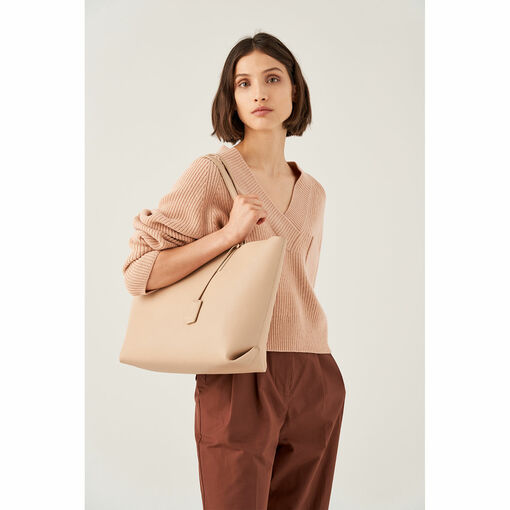 Oroton Duo Medium Zip Tote in Latte and Pebble Leather for female