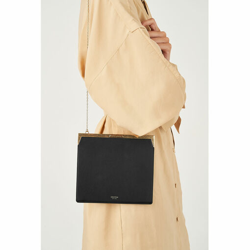 Oroton Yvette Square Clutch in Black and Smooth Leather for female