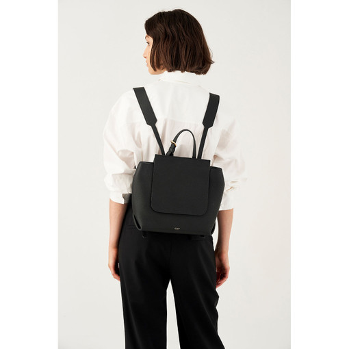 Oroton Margot Backpack in Black and Pebble Leather for female
