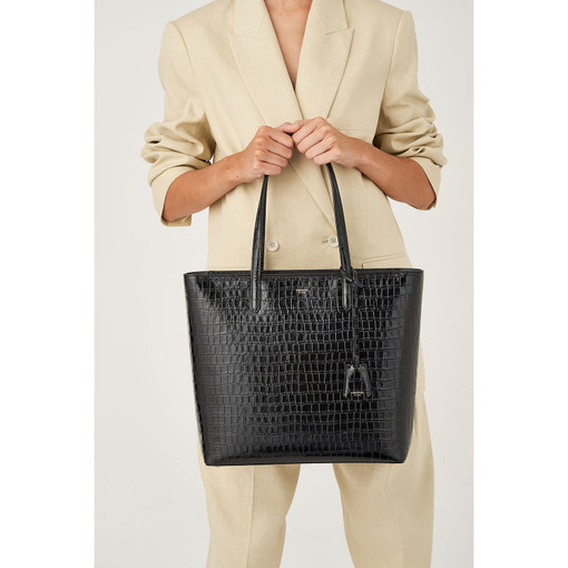 Oroton Muse Texture Square Tote in Black Texture and Croc Effect Leather for female