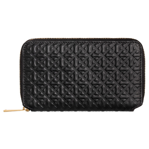 Oroton Celeste Mini Book Wallet in Black Emboss and Smooth Leather for female