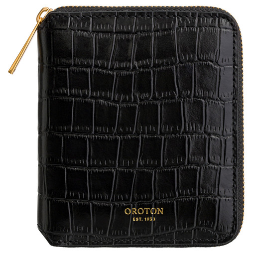 Oroton Muse Texture Small Zip Wallet in Black Texture and Croc Effect Leather for female