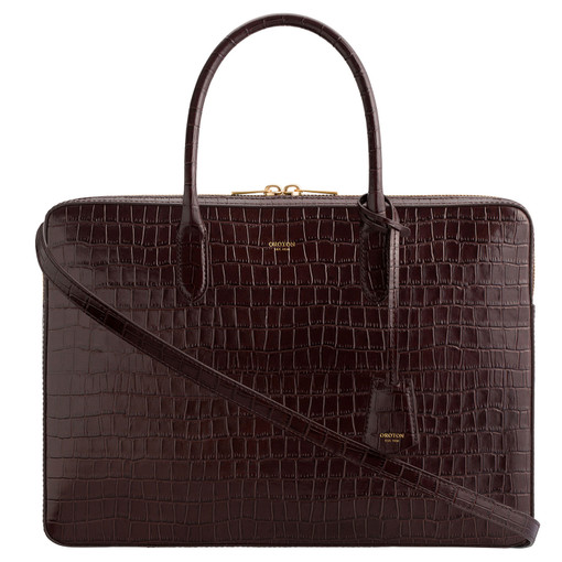"""Oroton Muse Texture 15"""" Worker Tote in Walnut Texture and Croc effect Leather for female"""