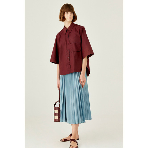 Oroton Cotton Short Sleeve Utility Pocket Shirt in Burgundy and 100% Cotton for female