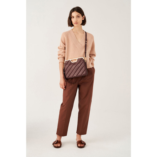 Oroton Coco Quilting Clutch in Mahogany and Nappa Leather for female