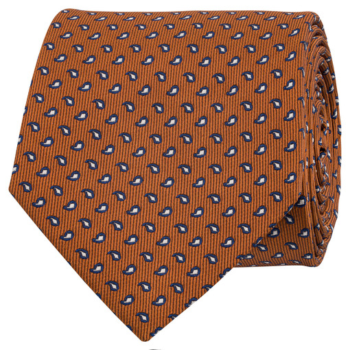 Oroton Tate Mini Paisley Tie in Amber and 100% Silk for male