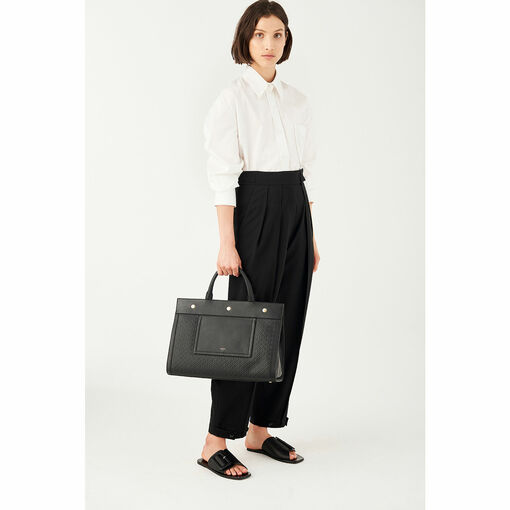 Oroton Celeste Tote in Black Emboss and Smooth Leather for female