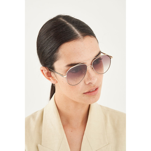 Oroton Florence Sunglasses in Gold/Khaki and Metal for female
