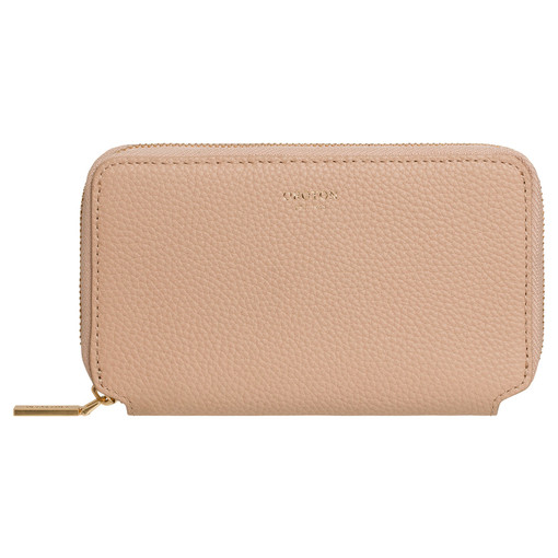 Oroton Duo Mini Book Wallet in Latte and Pebble Leather for female