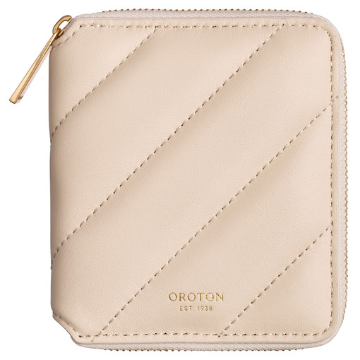 Oroton Coco Quilting Small Zip Wallet in Cashew and Nappa Leather for female