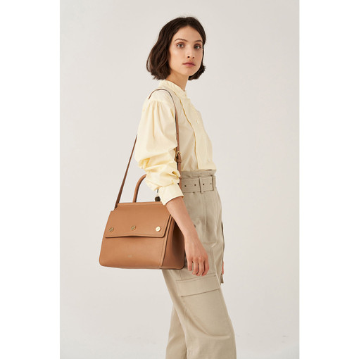 Oroton Bay Satchel in Dark Rye and Smooth Leather for female