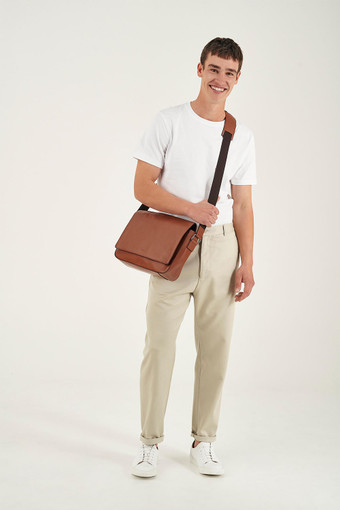 Oroton Leo EW Satchel in Whiskey and Smooth Leather for male