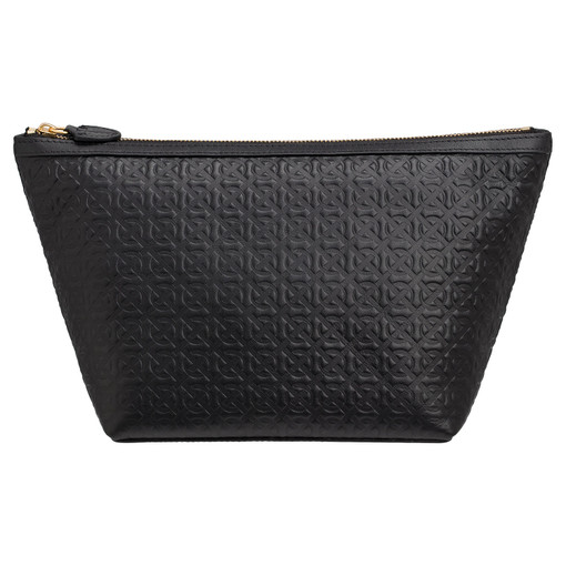 Oroton Celeste Large Beauty Case in Black Emboss and Smooth Leather for female