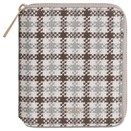 Oroton Muse Print Small Zip Wallet in Chocolate Check and Saffiano Leather for female