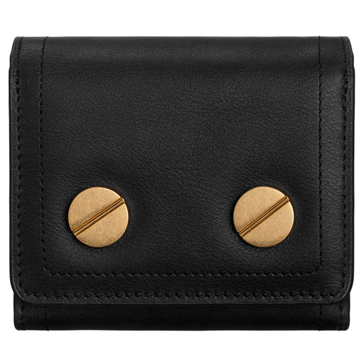 Oroton Bay Square Fold Wallet in Black and Smooth Leather for female