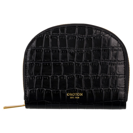 Oroton Sylvie Small Arc Wallet in Black and Croc Emboss Leather/Smooth Leather for female