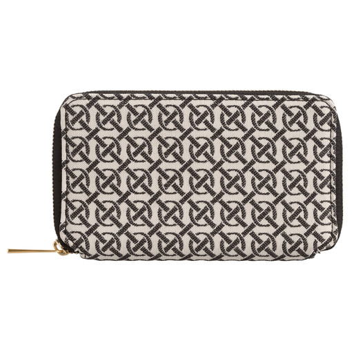 Oroton Celeste Jacquard Mini Book Wallet in Black/Natural and Oroton Signature Jacquard/Smooth Leather for female