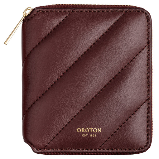 Oroton Coco Quilting Small Zip Wallet in Mahogany and Nappa Leather for female