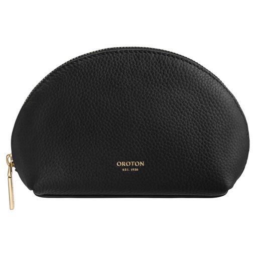 Oroton Duo Small Beauty Case in Black and Pebble Leather for female