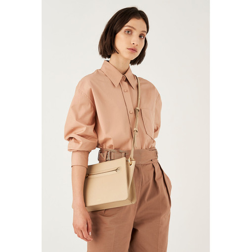 Oroton Mischa Day Bag in Flint and Smooth Leather for female