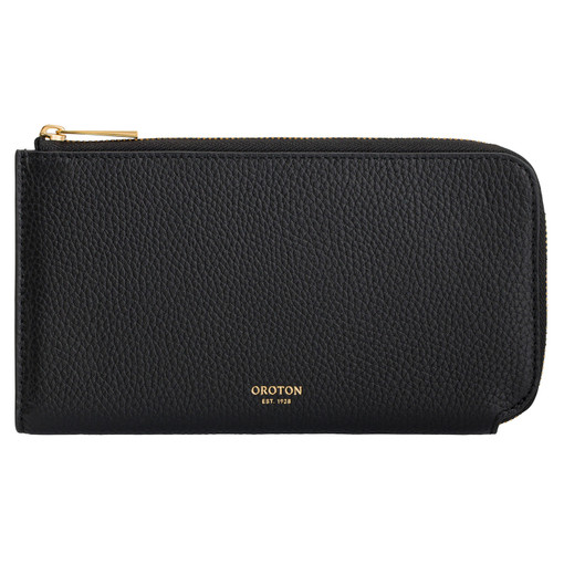 Oroton Anouk 12 Credit Card Zip Wallet in Black and Pebble Leather for female
