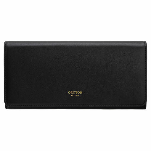 Oroton Elena Large Fold Wallet in Black and Smooth Leather for female