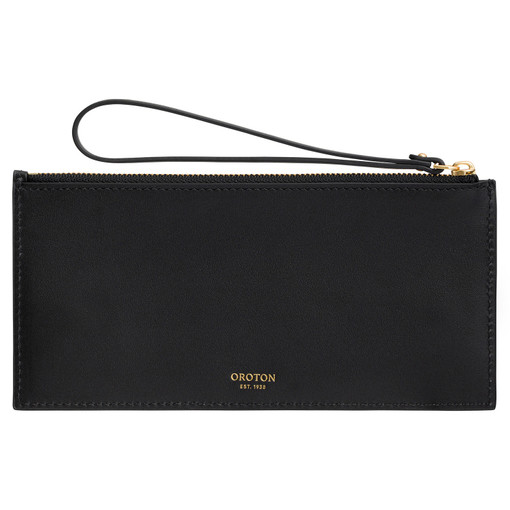 Oroton Frida 6 Credit Card Long Zip Pouch in Black and Smooth Leather for female