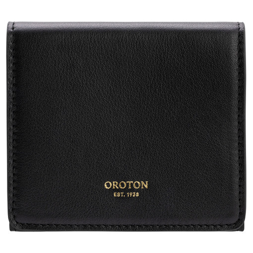 Oroton Elena Small Fold Wallet in Black and Smooth Leather for female