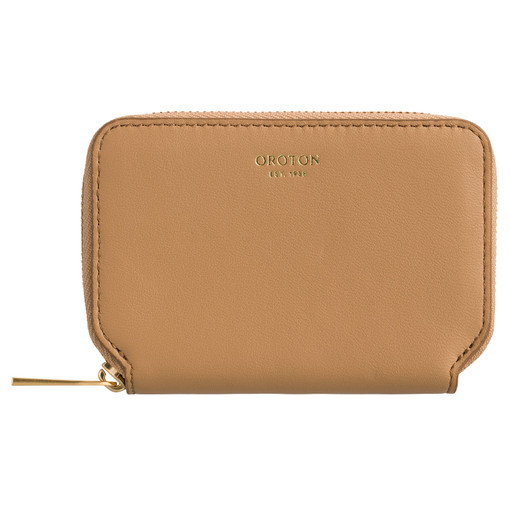 Oroton Cleo 7 Credit Card Zip Wallet in Toast and Soft Smooth Leather for female
