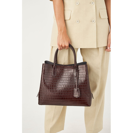 Oroton Muse Texture Three Pocket Day Bag in Walnut Texture and Croc effect Leather for female