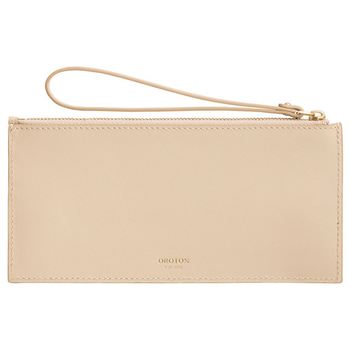 Oroton Frida 6 Credit Card Long Zip Pouch in Light Sand and Smooth Leather for female