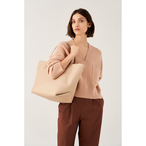 Oroton Duo Large Tote in Latte and Pebble Leather for female