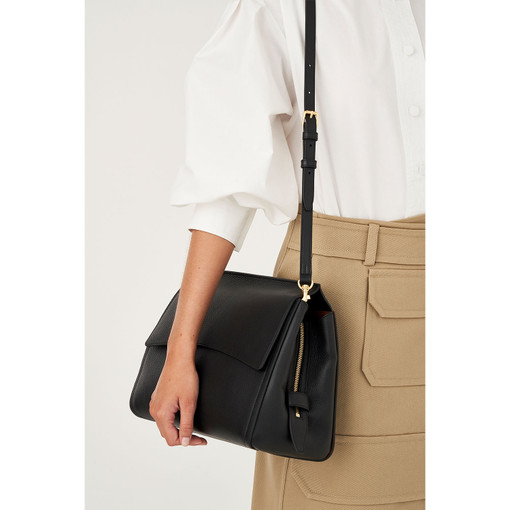Oroton Mila Medium Satchel in Black and Pebble Leather/Smooth Leather for female