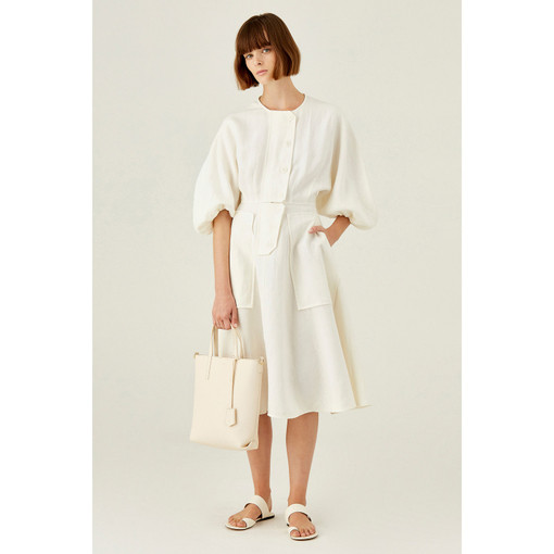 Oroton Sculptured Sleeve Fit And Flare Linen Dress in Eggshell and 100% Linen for female