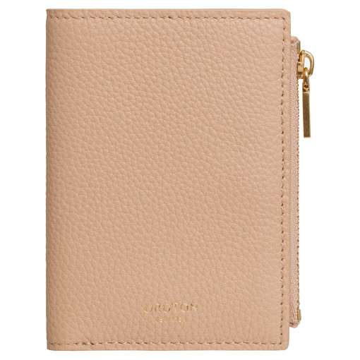 Oroton Duo Mini 10 Credit Card Zip Wallet in Latte and Pebble Leather for female