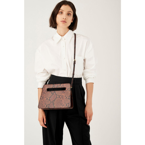 Oroton Stella Texture Large Clutch in Mahogany Texture and Snake Embossed Leather for female