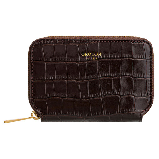Oroton Yvette Texture 7 Credit Card Zip Wallet in Chocolate Texture and null for female