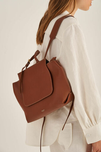 Oroton Margot Backpack in Whiskey and Pebble Leather for female