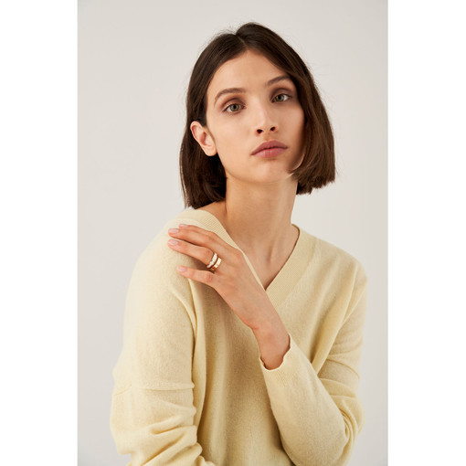 Oroton Emaille Thin Ring Set in Gold/White and Brass Based With Precious Metal Plating/ Enamel for female