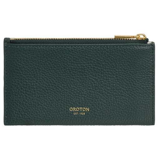 Oroton Margot 8 Credit Card Zip Pouch in Liquorice and Pebble Leather for female