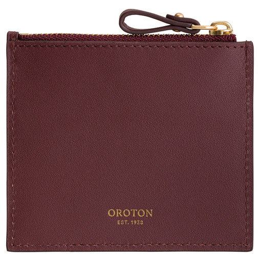 Oroton Frida 3 Credit Card Zip Pouch in Mahogany and Smooth Leather for female