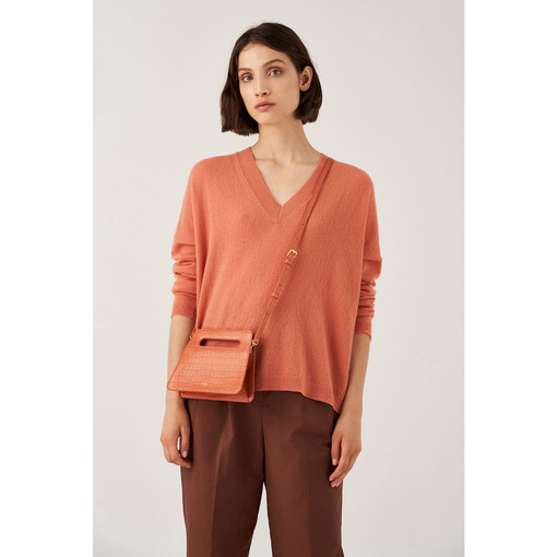 Oroton Stella Texture Small Clutch in Pumpkin Texture and Croc Effect Leather for female