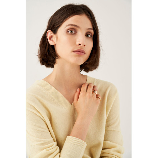 Oroton Emaille Triple Ring Set in Gold and Brass Based With Precious Metal Plating for female
